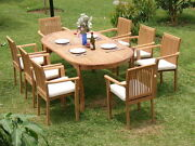 Dslu 9pc Dining 94 Oval Table Arm Stacking Chair Set Grade-a Teak Outdoor New