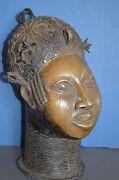Very Large 42 Cm Tall Mid 20th Century African Benin Tribal Bronze Bustc 1950