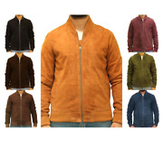 Menand039s Goat Suede Leather 80s Style Sport Baseball Varsity Fitted Bomber Jacket