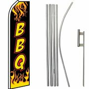 Bbq Barbecue Black Yellow Swooper Super Flag And 16ft Flagpole Kit / Ground Spike