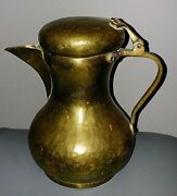 Antique Vintage Brass And Copper Russian Pitcher Urn