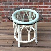 Vintage Small White Table Rattan Round Base Octagonal Hex Glass Top Bentwood