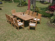 Dsch Grade-a Teak 11pc Dining 94 Rectangle Table Stacking Arm Chair Set New