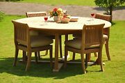 Dsgv Grade-a Teak 5 Pc Dining 72 Round Table 4 Armless Chair Set Outdoorpatio