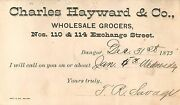 Charles Hayward And Co, Wholesale Grocers, 110 Exchange St, Bangor, Me Maine 1875