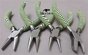 Dark And Light Green Foam Handle Pliers 5 Flat Round Chain Cutters Nose Jewellery