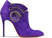 1395 New Christian Louboutin Mrs Baba 100 Ankle Boots Purple Suede Shoes 40