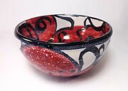 SALLY TOMIKO (USA) MODERNIST SM. ABSTRACT DECORATED ART POTTERY BOWL MID-CENTURY