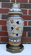 VTG ART POTTERY GINGER JAR TABLE LAMP HAND PAINTED FRENCH COUNTRY / ITALIAN