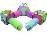 Kids 8pc Play Tent And Tunnel Pop Up Playhouse Jungle Toy Set W/bag, Fast Ship
