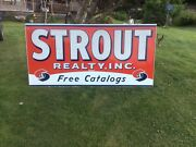 Vintage Large Metal Strout Realty Sign, Wood Frame , 94 Inches X 46.5,