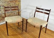 Arne Wahl Iversen Danish Modern Rosewood Dining Chairs Set Of 2 New Upholstery