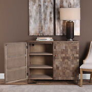 47 W Samantha Accent Cabinet Hand Crafted Blocks Recycled Elm Wood Light Brown