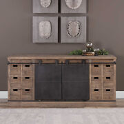 71 W Lillian Media Console Old Bard Door Recycled Wood Aged Steel Hand Crafted