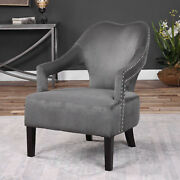 28 W Jack Accent Chair Gray Brushed Nickel Nailhead Birch Wood Black Finish