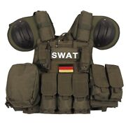 Swat Tactical Combat Modular Vest W/ Bagsandpouches Quick Remove System - Od Green