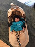 American Indian Papoose Cradle Board With Porcelain Doll