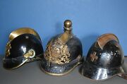 Rare Collection 3 19th Century Metal German / Swiss Fire Officer Helmets C1860