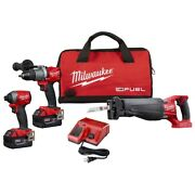 Milwaukee M18 Fuel Contractors Combo Kit With Sawzall Impact Driver Hammer Drill