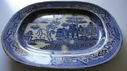 Antique Early 19th C English Staffordshire 18 Transferware Blue Willow Platter