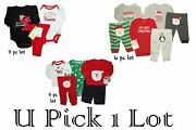 Christmas Lot Bodysuit Pant Holiday Girls Boys My 1st Santa Visit Outfit Carters