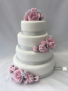 Rose Flowers Cake Topper Wedding Flowers Posy Crystals With Diamante Bouquets