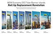 New Pop Up Tube Banner Roll/pull Up Exhibition Display Stand With Fabric Graphic