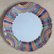 "DERUTA FIMA Marmo Large Round Serving Platter 13"" stripes majolica hand painted"