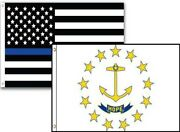 3x5 Usa Police Blue Rhode Island State 2 Pack Flag Wholesale Set Combo 3'x5'
