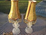 Pair Set Of 2 Ballroom Dancers Frosted Boudoir Lamps Lights W/ Swag Shades