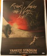 Roger Waters Auto Signed The Wall Live Yankee Stadium Psa U69314 Poster Le