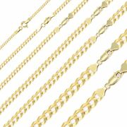 10k Solid Yellow Gold Cuban Necklace Chain 2-12.5mm 16-30 - Curb Link Men Women