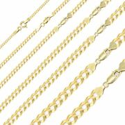 14k Solid Yellow Gold Cuban Necklace Chain 2-12.5mm 16-30 - Curb Link Men Women