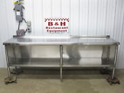 96 X 24 Stainless Steel Heavy Duty Kitchen Cabinet Work Prep Table 8and039 X 2and039