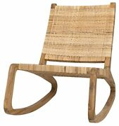 25 W Set Of Two Accent Rocking Chair Solid Teak Wood Frame Woven Rattan Back