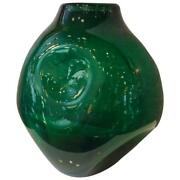 Large Impressive Dimpled Emerald Glass Vessel By Winslow Anderson For Blenko