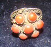 Silver Antique Ring Yemenite Coral Stone Decorative Jewelry Middle East Oriental