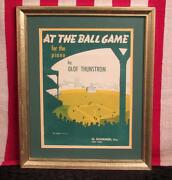 Vintage 1949 At The Ball Game Baseball Song Sheet Music Graphic Cover Framed