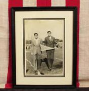 Vintage 1940s Notre Dame Football Photograph Students W/pennant On Field Framed