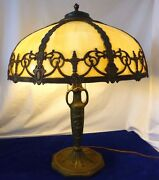 Bronze 2-socket Lamp W/amber Slag Glass Shade.attributed To Pittsburgh Co.1920s