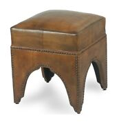 18 W Footstool Light Brown Top Grain Leather Over Wood Frame Nail Head Trim