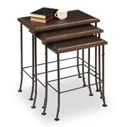 Erica Set Of Two Leather Nesting Tables Iron Tan Wood Tacks