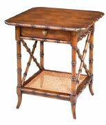 24 H Igino Set Of Two East Lamp Table Solid Walnut Drawer Old World Finish