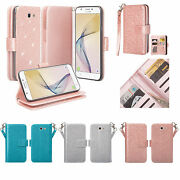 For Samsung Galaxy Phones Faux Leather Glitter Shine Wallet Case Cover Clutch