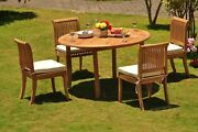 Dsgv Grade-a Teak 5 Pc Dining 52 Round Table 4 Armless Chair Set Outdoor Patio