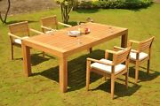 Dsmt Grade-a Teak 5pc Dining Canberra Rectangle Table Stacking Arm Chair Set