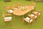 Dsmt Grade-a Teak 9pc Dining 94 Oval Table 8 Stacking Arm Chair Set New