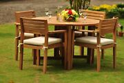 Dsmt Grade-a Teak Wood 5pc Dining 48 Round Table 4 Stacking Arm Chair Set Nw