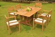 Dsmt Grade-a Teak Wood 7 Pc Dining 69 Console Table 6 Stacking Arm Chair Set