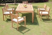 Dsmt Grade-a Teak Wood 7pc Dining 122 Caranas Rectangle Table 6 Arm Chair Set